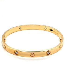 Cartier 18k yellow gold love 4 diamonds bracelet